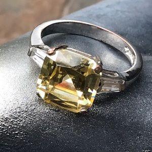 Jewelry - Large Fancy Yellow Stone Three-Stone Ring